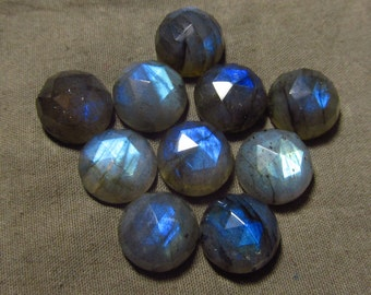 12 mm - 10 pcs - Gorgeous Nice Quality AAA Labradorite - Super Sparkle Rose Cut Faceted Round -Each Pcs Full Flashy Gorgeous Fire