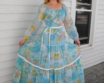 Blue Hippie Dress Floral Print Maxi Lori Ann Vintage 70s Spring 1970s XS S