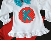 Girls' Personalized Red and Turquoise Shirt or Bodysuit and Ruffle Pants Outfit