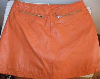 1980's Orange Leather Mini Skirt