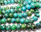 Gemstone Beads, Chrysocolla  Rondelle  Beads, Large tribal World Green Blue Beads, 16x13mm  half strand