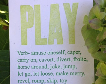 PLAY & Synonyms - Letterpress