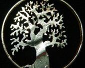 Tree of Life Half Dollar Hand Cut Coin