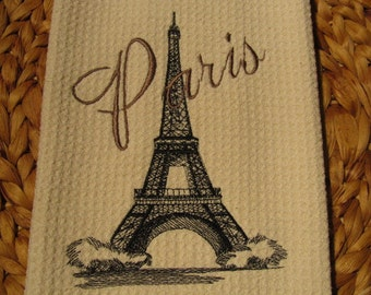 Eiffel Tower with Paris Text - Microfiber Waffle Weave Kitchen Hand Towel