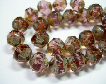 15 8mm Amethyst Puple Traverine faceted Firepolished Thru Cuts Czech Glass Beads