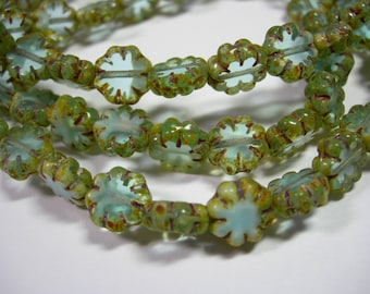 25 beads - Aqua Picasso Czech Glass Flower Beads 9mm