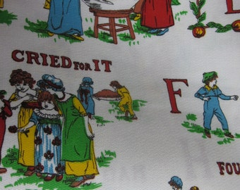 Vintage Cotton Fabric - Children and PIE - Red Blues Browns Yellows and Green on a white background - Sold by yard - 44 inches
