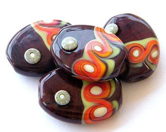 handmade Lampwork bead / pendant by binduglass - set of 4