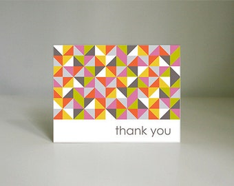 MODERN TRIANGLES Thank You Card PDF- Instant Printable Download