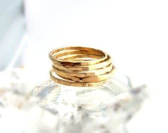 Five Gold Halo Stack Rings