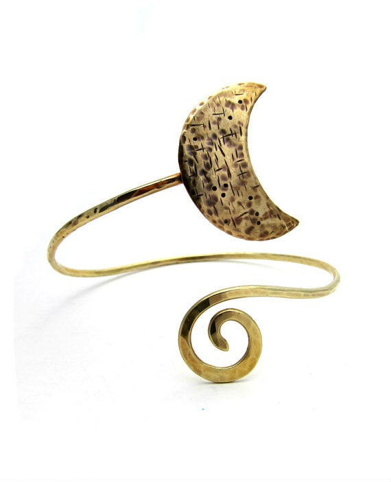 Yellow Brass Moon Arm Band