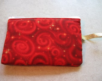 padded makeup jewelry bag in red celestial print