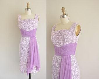 vintage 1950s dress / lilac lace wiggle dress / 50s sash party dress