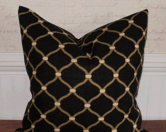 Decorative Pillow Cover: Lattice Design 18 X 18 Accent Throw Toss Pillow Cover in Black and Natural ... Gifts for Her