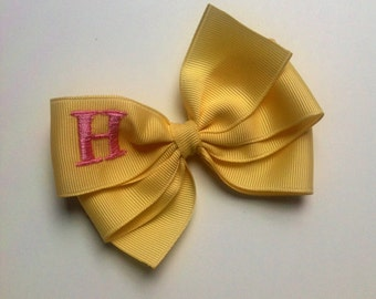 Banana Yellow Monogrammed Bow with Pink Initial by Cheryl's Bowtique