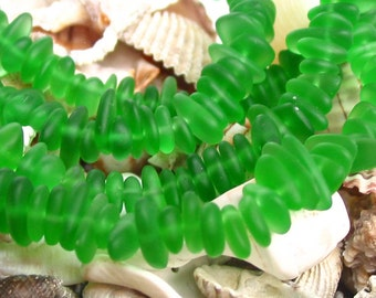 """8"""" SPRING green small 6mm 9mm chip pebble sea beach velvet glass beads frosted recycled"""