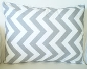 Gray Chevron Pillow Covers, Decorative Throw Pillow, Cushion Cover, Grey White Twill Zig Zag Chevron Lumbar,  One 12 x 16 or 12 x 18