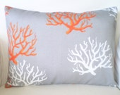 OUTDOOR Throw Pillow Cover Decorative Pillows Cushion Covers Nautical Orange Gray White Coral Grey Lumbar, One 12 x 16 or 12 x 18