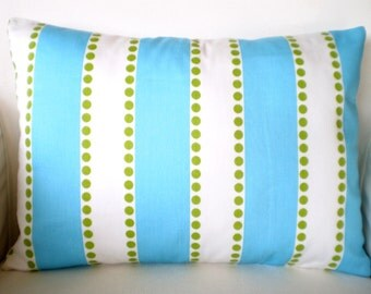 Aqua Lumbar Pillow Cover, Decorative Throw Pillow, Cushion, Aqua White Lulu Stripes with Lime Green Dots Girly Blue, One 12 x 16 or 12 x 18