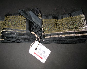 Vintage Black and Gold Silk Satin Brocade Wide Ribbon Trim