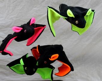 Neon Orange Plush Bat