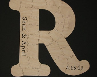 95 pc Hand Cut Custom Initial Wedding or Anniversary Guest Book Puzzle