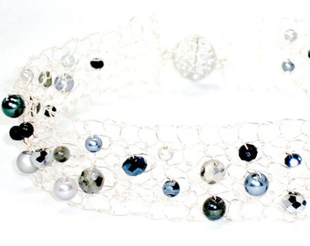 Silver Choker Necklace Beaded Choker Black Choker Statement Jewelry Sexy Collar Necklace Modern Chic Jewelry Handmade Gift for Women