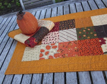 "QUILTED AUTUMN TABLERUNNER, 19.5"" X 37.5"", Fall Themed Fabrics, Table Mat, Thanksgiving Dinner, Wavy Criss Cross Quilting, Autumn Colors"
