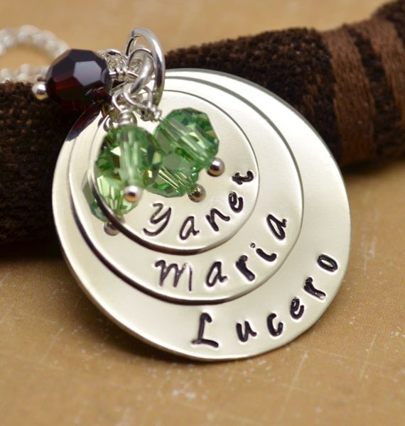 Mother Necklace Personalized, Mommy Necklace, Mother's Day, Grandmother Necklace, Child Name, Hand Stamped