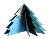Green Vintage Map Christmas Tree Ornament - Reclaimed Vintage National Geographic Atlas - Handmade Xmas Decoration