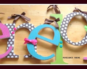 Wooden Baby Letters for Nursery Decor- Penelopes Theme - Custom Letters avail in any size or font in this shop