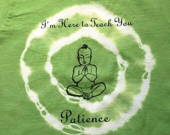 2T Toddler / Kids Organic Patience Buddha T Shirt - Avocado Green, short sleeved kids shirt