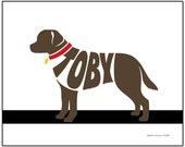 Personalized Labrador Retriever Print, Chocolate Lab, Yellow Lab, Black Lab, Custom Dog Name Art, Dog Lover Gift