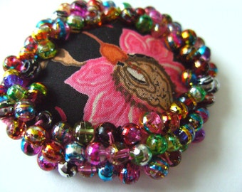 Liberty fabric, black background, black and pink, mix colour, disco, choose ring or brooch, by NewellsJewels