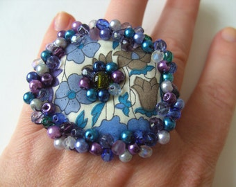 Liberty fabric, teal and purple, choose ring or brooch,floral,  Poppy, by NewellsJewels