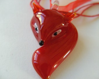 RED , glass, fox, pendant, necklace, Woodland, by NewellsJewels on etsy