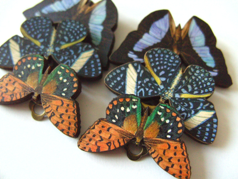 fantastic wooden butterfly clip on earrings choose style