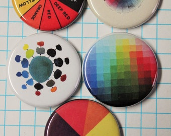 """Color Theory Button Magnet or Pinbacks, SET of 5, 1.25"""", Home or Office, Rainbow, Button Badge"""