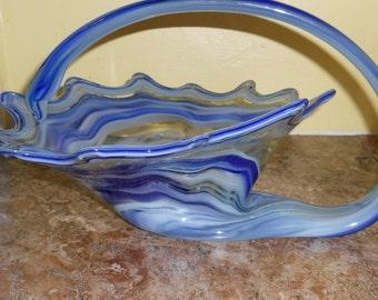 Handblown Art Glass Centerpiece Bowl with Handle-Blue and White Swirls