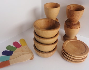 Toy Dishes Set - Natural Wood 18 pieces -  eco friendly
