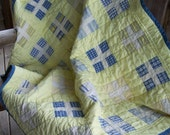 Handmade lemon and blueberry baby or lap quilt  46x54