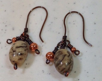 Feldspar Graphic Gemstone Earrings on Handmade Antique Copper Ear Wires 1.75 Inches Long One of a Kind Previously 24 Dollars ON SALE