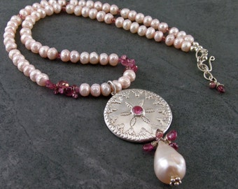 Pink pearl necklace, handmade pink sapphire, tourmaline and fine silver necklace-Victorian Sand Dollar