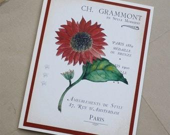 Sunflower Terracotta Rust Summer Autumn with French Ephemera Blank Greeting Card