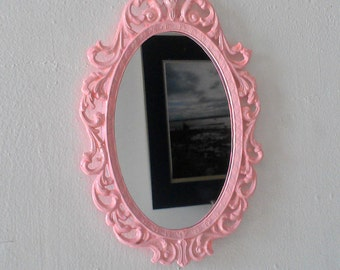 Pink Princess Mirror in Vintage Metal Frame - 8 by 5.5 inches