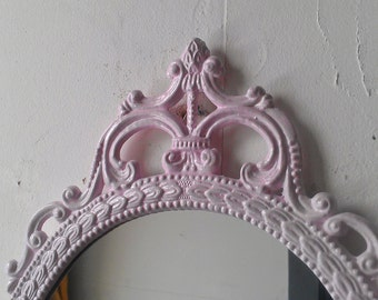 Pink Wall Mirror, Large Ornate Frame, Baby Pink, Cottage Chic, Paris Bedroom Decor, Pastel Goth, Vintage Oval Mirror