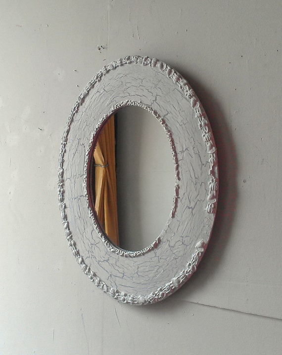Oval Wood Mirror In Weathered White 19 By 15 Inches
