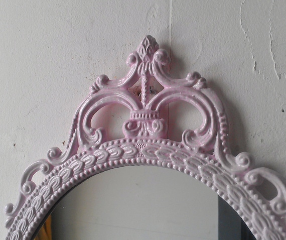 Pink Wall Mirror pink wall mirror large ornate frame baby pink cottage chic