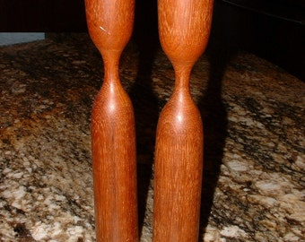 ON SALE... Vintage Pair of Mid Century Modern Teak Candle Holders, As Is