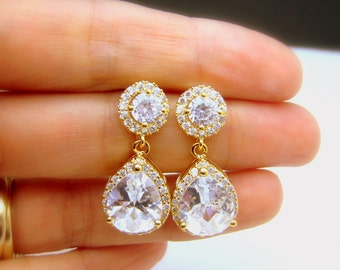 bridal jewelry wedding jewelry wedding gold earring Bridesmaid jewelry prom party gift Clear white teardrop AAA cubic zirconia post earrings